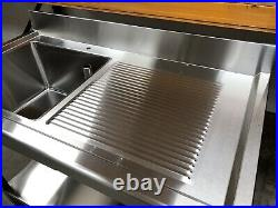 1.2m Stainless steel commercial kitchen single bowl right hand drainer sink