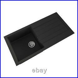 1.5 Bowl Black or Grey Inset Comite Reversible Kitchen Sink, Single Bowl Tap