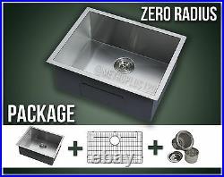 22 Single Bowl Undermount Grid Stainless Steel Kitchen Sink Zero Radius Combo