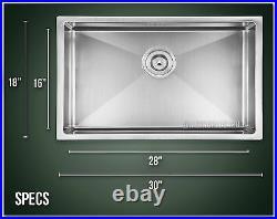 30 Single Bowl Undermount 16 Gauge Stainless Steel Kitchen Sink Small Radius