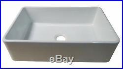 30 White Fireclay Single Bowl Farmhouse Apron Kitchen Sink Grid & Drain Kit