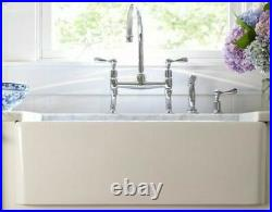 30 inch Apron Farmhouse Fireclay Fluted and Plain Single Bowl Sink White LG. 39