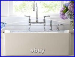 30 inch Apron Farmhouse Fireclay Plain/Fluted single Bowl Sink White RI#107