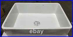 30 inch Apron Farmhouse Fireclay Plain/Fluted single Bowl Sink White RI#81