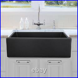 30 inch Granite Composite Apron Farmhouse Single Bowl Sink Black