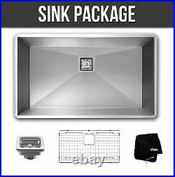 30 inch Undermount Single Bowl Stainless Steel Kitchen Sink Zero Radius Package