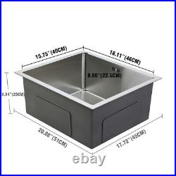 304 Stainless Steel Kitchen Sinks Top Under Mount Commercial Square Single Bowl