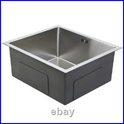 304 Stainless Steel Square Single Bowl Kitchen Sink with Drainer 51 x 45 x 22 cm