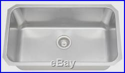 32 Large Stainless Steel Single Bowl Rectangle Undermount Kitchen Sink