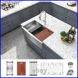 33'' 16 Gauge Single Bowl Stainless Steel Farmhouse Apron Kitchen Sink 8 PCS