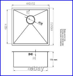 440 x 440mm Undermount Single Bowl Handmade Satin Stainless Steel Sink DS006-175