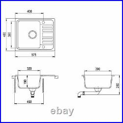575mm x 460mm Reversible Single Bowl Inset Composite Sink with Drainer CS001