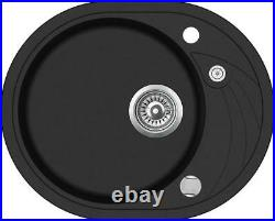 580 x 470mm Reversible Round Single Bowl Inset Composite Sink with Drainer CS010