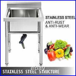 60X60 CM Commercial Catering Stainless Steel Sink Kitchen Wash Table Single Bowl