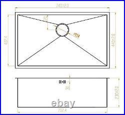 740x440mm Deep Wide Single Bowl Handmade Steel Undermount Sink & Grid DS008