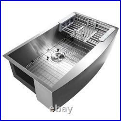 AKDY AiO Farmhouse Apron Front Stainless Steel 33 in. Single Bowl Kitchen Sink
