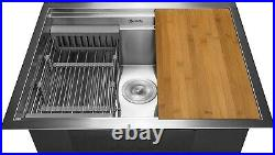 AKDY All-in-One Undermount 25 in Stainless Steel Single Bowl Kitchen Sink KS0229