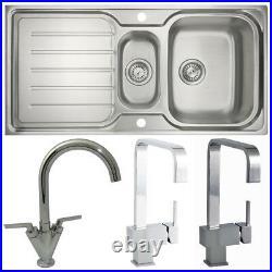 Astini Magnum 1.5 Bowl Brushed Stainless Steel Kitchen Sink & Various Taps