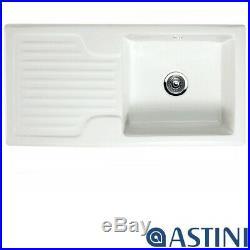 Astini Rustique 100 1.0 Bowl White Ceramic Kitchen Sink & Waste