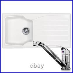 Astracast Sierra 1.0 Bowl White Kitchen Sink & KT1 Chrome Single Lever Mixer Tap
