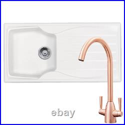 Astracast Sierra 1.0 Bowl White Kitchen Sink & SIA Copper Twin Lever Mixer Tap