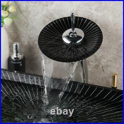 Bathroom Oval Tempered Glass Vessel Sink Bowl Basin Faucet Combo Lavatory Set