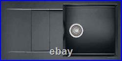 Black Granite Kitchen Sink Single Bowl Basin with Waste Strainer Reversible