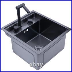 Black Hidden Kitchen sink Single bowl Bar Small Size sink Stainless Steel Balcon