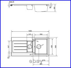 Black Kitchen Sink Comite 1.5 Bowl Single Bowl Kitchen