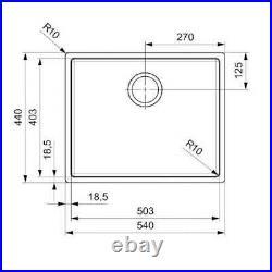 Black Steel Kitchen Sink Single Bowl Inset, Integrated or Undermount