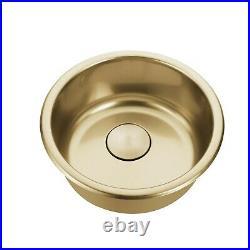 Burnished Brass Gold stainless steel Single Round bowl kitchen sink trough 420mm