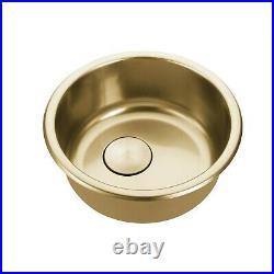 Burnished Gunmetal stainless steel Single Round bowl kitchen sink trough 420 mm