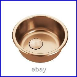 Burnished brushed copper stainless steel Single Round bowl kitchen sink trough