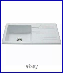 CDA KC23WH Handmade Single Bowl Ceramic Reversible Kitchen Sink in White NEW