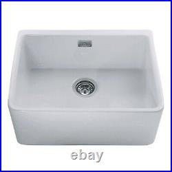 CDA Single Bowl Ceramic White Kitchen Sink