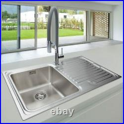 COMPACT DEEP Steel Inset Kitchen Sink Single Bowl Reversible Drainer Waste Kit