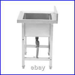 Catering Kitchen Sink Single Bowl Pot Wash Table Stainless Steel Home Freestand