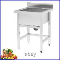 Catering Sink Stainless Steel Single Bowl Commercial Kitchen Large Wash Basin UK