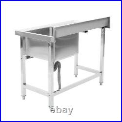 Catering Stainless Steel Kitchen Sink withSide Work Table Wash Table Single Bowl