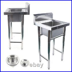 Commercial 304 Stainless Steel Kitchen Sink Square Catering Single Bowl Drainer
