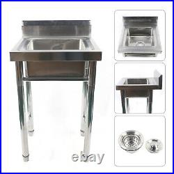 Commercial Catering Sink Stainless Steel Hand Wash Kitchen Single Bowl Drainer