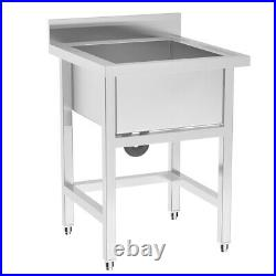 Commercial Catering Stainless Steel Sink Kitchen Handmade Wash Table Single Bowl