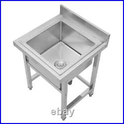 Commercial Kitchen Sink Pot Wash Table Single Bowl Stainless Steel Catering Sink