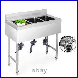 Commercial Kitchen Sink Wash Table Single/Double/3 Bowl Stand Stainless Steel
