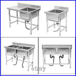 Commercial Kitchen Stainless Steel Prep Sink Catering Basin Unit With Splashback