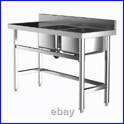Commercial Stainless Steel Kitchen Sink Catering Bowl Side Platform Warewashing