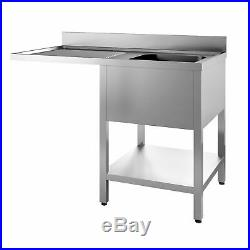 Commercial Stainless Steel Left Hand Drainer Single Bowl Dishwasher Sink 1200mm
