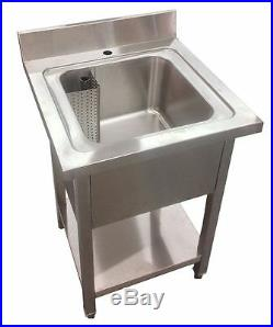 Commercial Stainless Steel Single Bowl Sink Kitchen 600mm Width