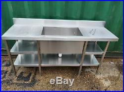 Commercial stainless steel single bowl sink slim line strong sink 160x50x80 cm