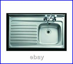 Contract Kitchen Sink Sit/Lay On Roll Top Single Bowl Drainer 1000x600mm Or TAP